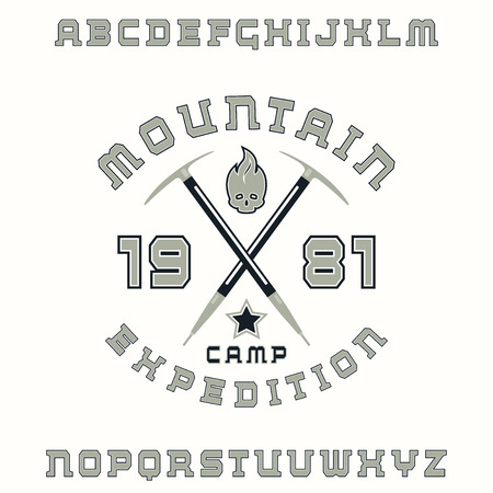 ice ax: Square serif font with contour and expedition emblem. Color print on white background
