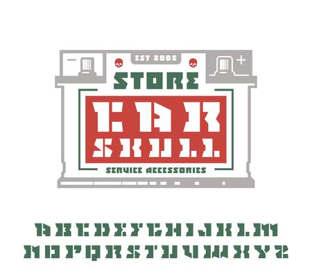 serif: Square stencil-plate serif font and car service emblem. Graphic design for t-shirt. Color print on white background Illustration