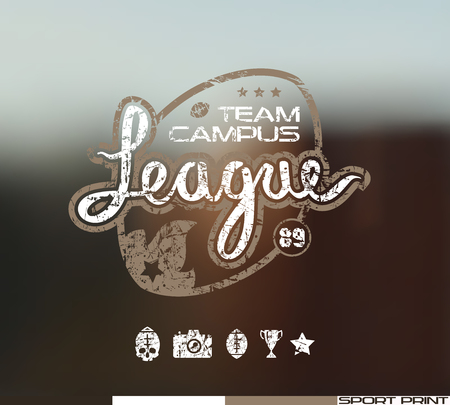 rugby team: College rugby team emblem in retro style. Graphic design for t-shirt. Color  print on blurred background