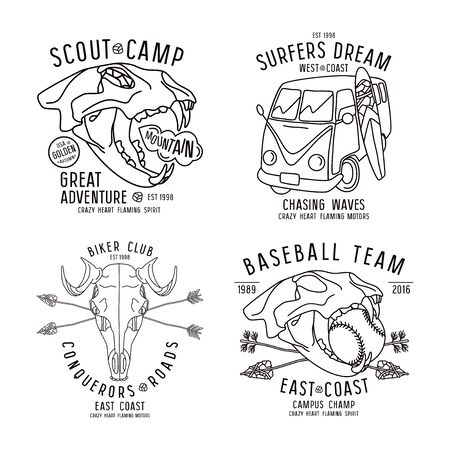 surf team: Graphic design for t-shirt in thin line style. Black print on white background