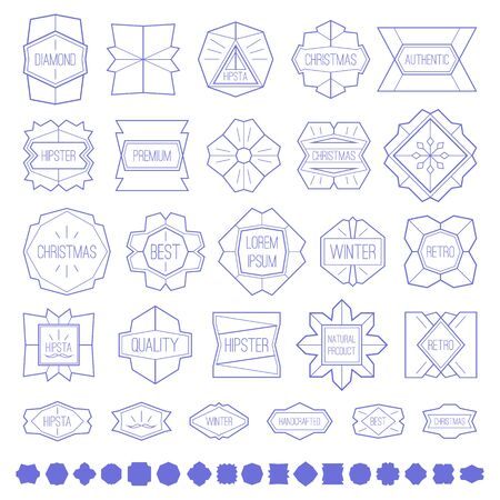 branded product: Labels and design elements in thin line style