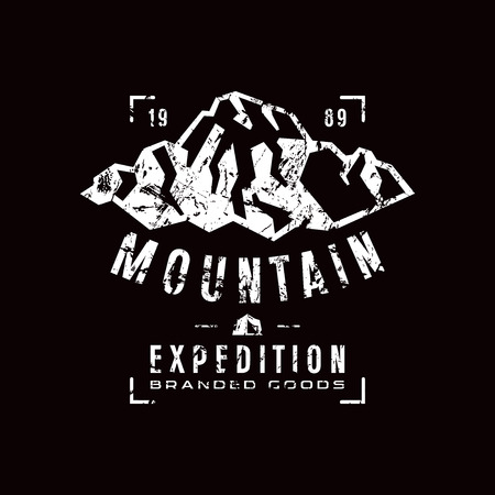 expedition: Mountain expedition label with shabby texture. Graphic design for t-shirt. White  print on black background