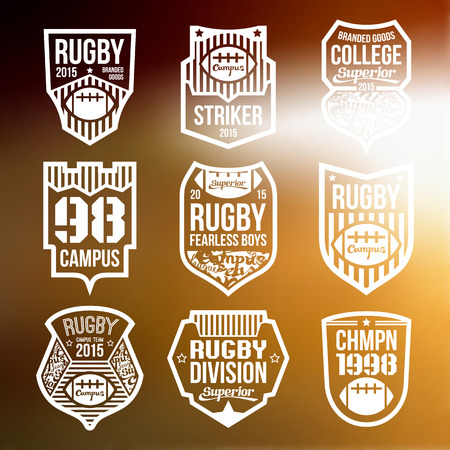 rugby team: College rugby team emblems in flat style. White print on a blurred background