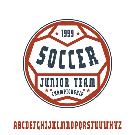 serif: Serif font in sport style with soccer emblem. Color print on white background