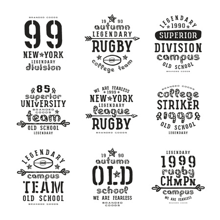 rugby team: Set of typographic  compositions for t-shirt. Rugby team. Black print on white background Illustration