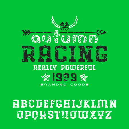 serif: Serif font with shabby texture. Graphic design for t-shirt. Print on green background