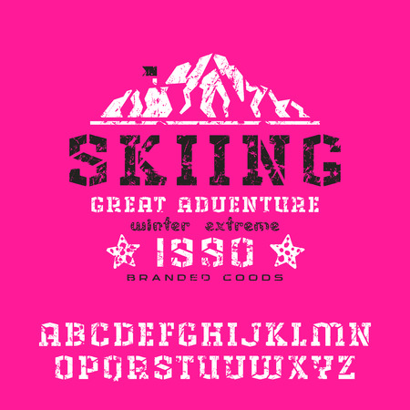 serif: Angular stencil-plate serif font with shabby texture. Graphic design for t-shirt. Print on pink background