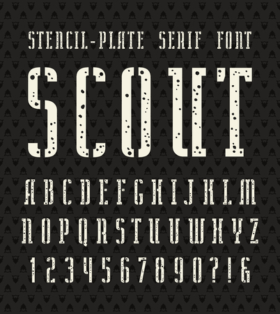 serif: Narrow stencil-plate serif font with speckled texture. Bold face. White print on black background