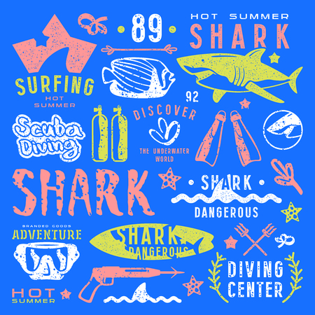 surfboard fin: Set of graphic elements. Scuba diving, surfing, shark. Color print on blue background