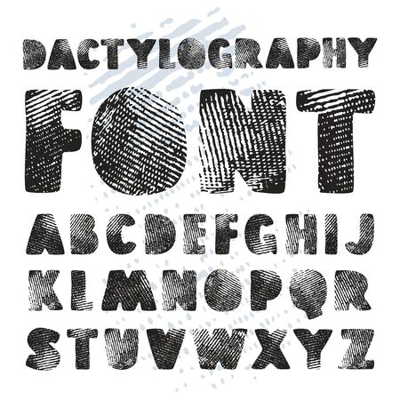 dactylogram: Stock vector hand drawn alphabet with texture of dactylogram. Print on white background