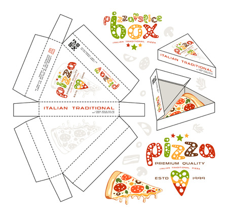 unwrapped: Stock vector design of boxes for pizza slice. Unwrapped box with layout elements and 3d presentation