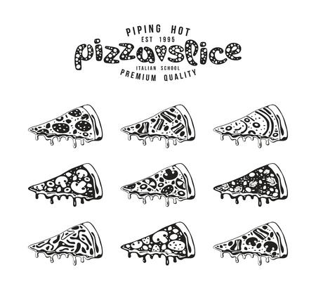 pizzeria label design: Stock vector Illustration of pizza slices. Black print on white background Illustration