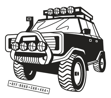 stock car: Stock vector illustration off-road car. Isolated on white  background Illustration