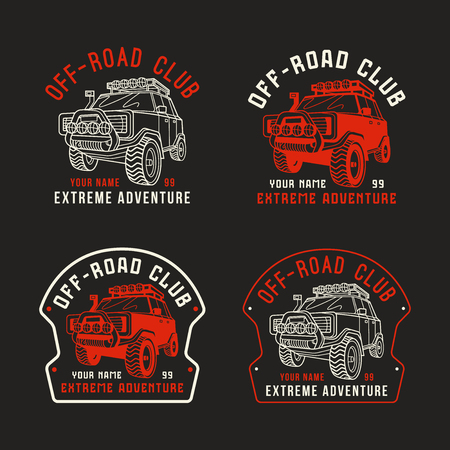 offroad: Stock vector off-road club emblem. Sticker design for your car. Color print on black background