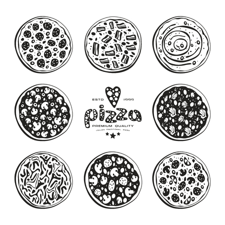 pizzeria label design: Stock vector illustration of pizza varieties. Black print on white background