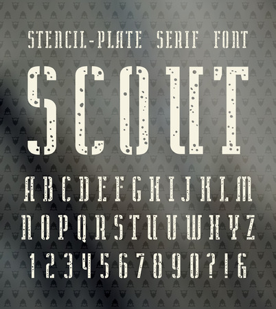 narrow: Narrow stencil-plate serif font with speckled texture. Bold face. White print on blurred background