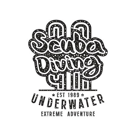 scuba diving: Scuba diving emblem in retro style. Graphic design for t-shirt. Black print on white background