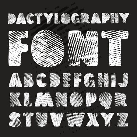 dactylogram: Stock vector hand drawn alphabet with texture of dactylogram. Print on black background Illustration
