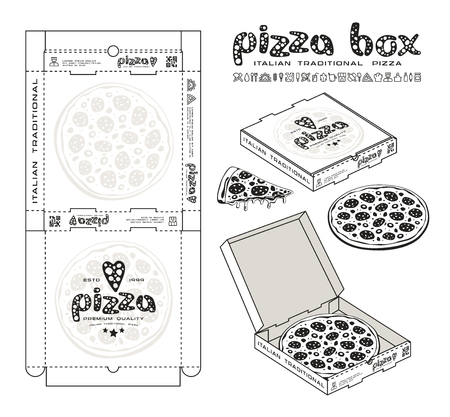 Stock vector design of boxes for pizza. Unwrapped box with layout elements and 3d presentation. Monochrome print