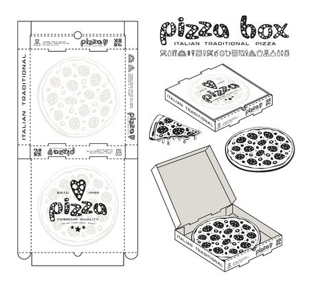 Akcyjny wektorowy projekt pudełka dla pizzy. Nieopakowane pudełko z elementami układu i prezentacji 3D. Druk monochromatyczny