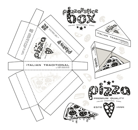 unwrapped: Stock vector design of boxes for pizza slice. Unwrapped box with layout elements and 3d presentation. Monochrome print Illustration
