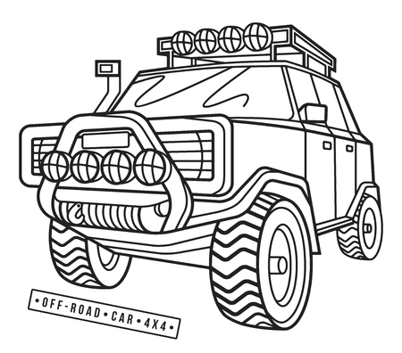 offroad car: Stock vector illustration off-road car. Thin line style. Isolated on white  background