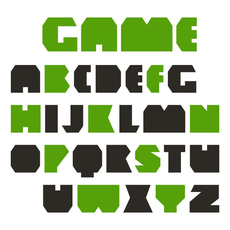 warlike: Sans serif geometric plate font. Black and green font on white background