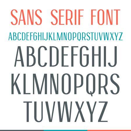 sans serif: Sans serif narrow font. Medium face. Isolated on white background Illustration