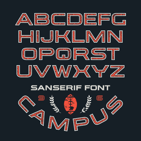 Sanserif font in sport style with contour and texture. Color print on black background