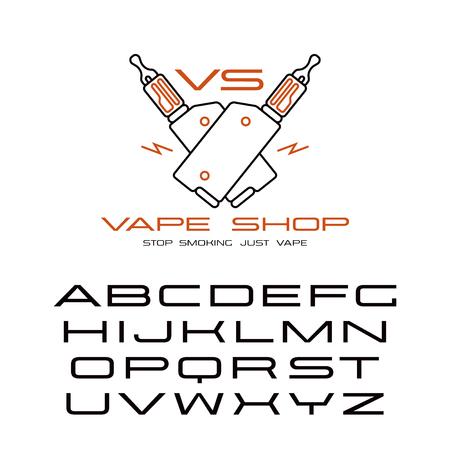 Sanserif wide font in thin line style and vape shop emblem. Color print  on white background Illustration