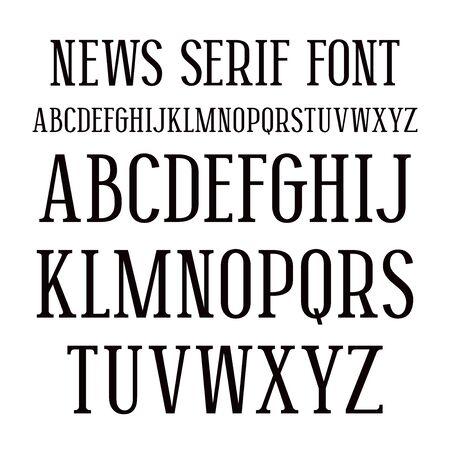 Berühmt Police Serif Caractères Gras Dans Le Style De Journal Rétro  YG04
