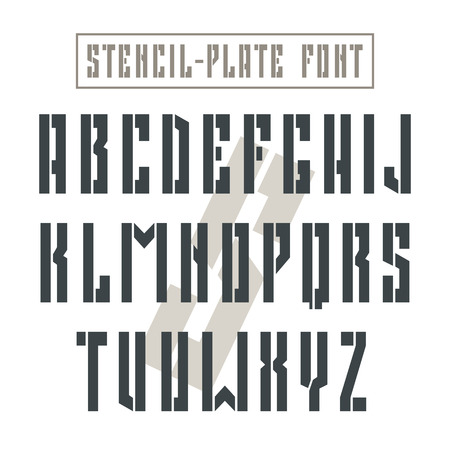 sans: Bold stencil-plate sans serif font in military style. Black font on light background Illustration