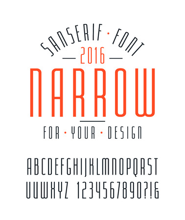 narrow: Narrow sanserif font and numbers. Medium face. Isolated font on white background Illustration