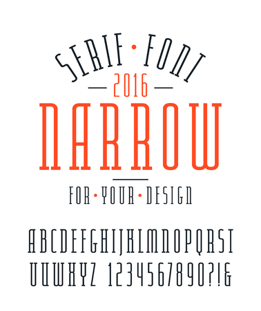 narrow: Narrow serif font and numbers. Medium face. Isolated font on white background