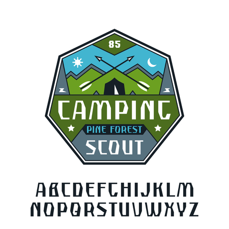 Rustic sanserif font and camping emblem. Graphic design for t-shirt. Color print on white background
