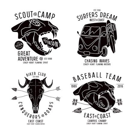 動物のサーファー バス画像頭蓋骨と t シャツのグラフィック デザイン。白い背景に黒印刷  イラスト・ベクター素材