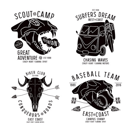 Graphic design for t-shirt with the image skulls of animals and surfer bus. Black print on white background