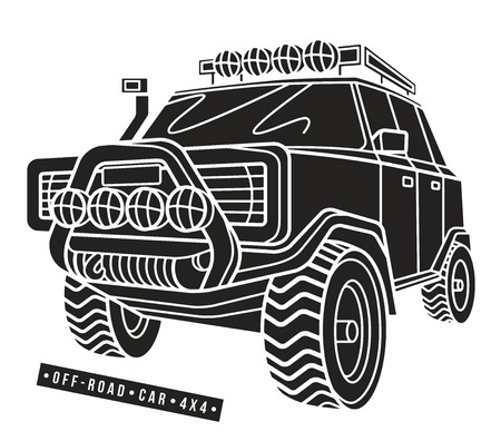 Stock vector illustration off-road car. Isolated on white  background Illustration