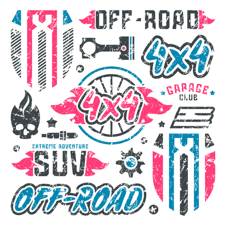 offroad car: Stock vector set of off-road car badges. Graphic design elements with shabby texture for t-shirt. Color print on white background
