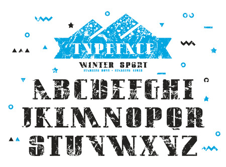 asymmetrical: Stock vector set of serif font. Bold typeface with shabby texture
