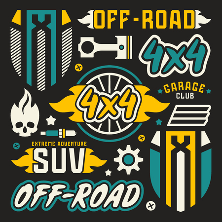 offroad car: Vinyl stickers and badges for off-road car. Illustration