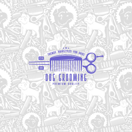 Seamless pattern and label dog grooming. Light color 矢量图像