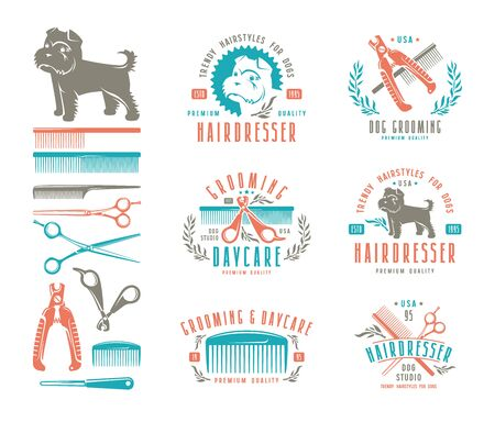 clippers comb: Set of hairdresser for dog. Badges and design elements. Color print on white background