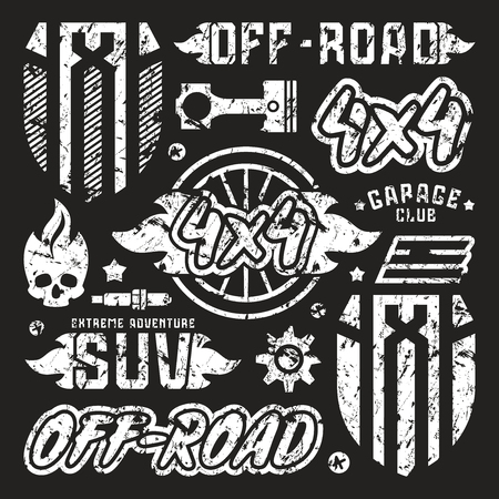 offroad car: Stock vector set of off-road car badges. Graphic design elements with shabby texture for t-shirt. White print on black background
