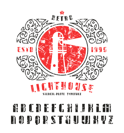 asymmetrical: Stock vector set of sanserif stencil-plate font and lighthouse emblem. Bold typeface with shabby texture