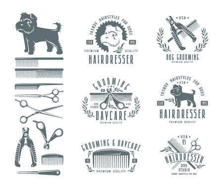 griffon: Set of hairdresser for dog. Badges and design elements. Isolated on white background