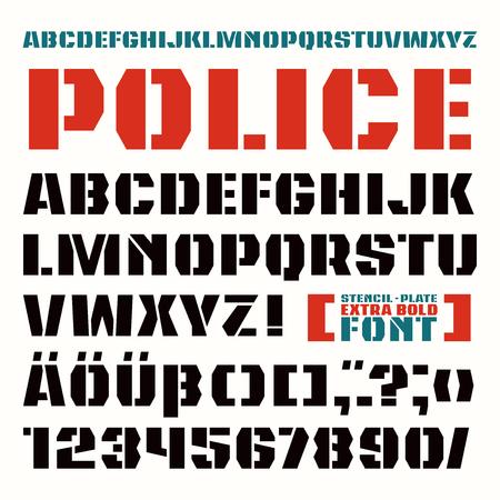 Stencil-plaat schreefloze lettertype in militaire stijl. Extra vetgedrukt