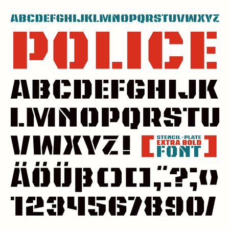 Stencil-plate sanserif font in military style. Extra bold face