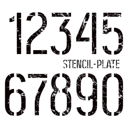 graphically: Stencil-plate numbers in military style with shabby texture. Medium face. Color print on white background