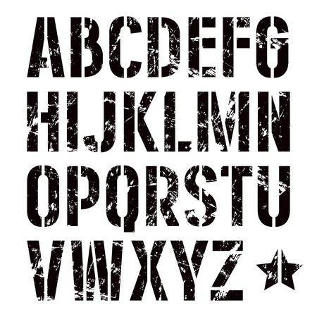Stencil-plate sans serif font in military style with shabby texture. Bold face. Black print on white background